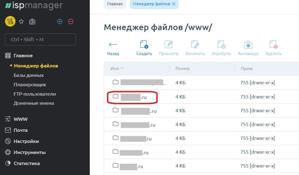 Евробайт. Биллинг панель - менеджер файлов - список сайтов