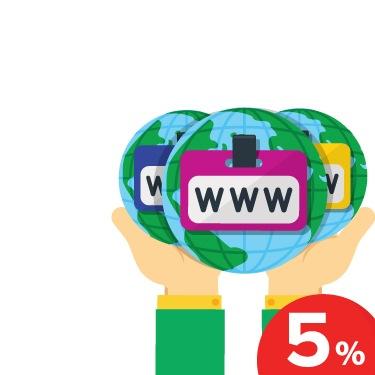 Новая акция: скидка 5% при регистрации от трёх доменов!